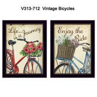 """""""Vintage Bicycles"""" Collection By Debbie DeWitt, Printed Wall Art, Ready To Hang Framed Poster, Black Frame"""