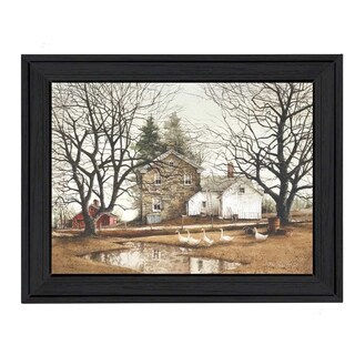 """""""Cold Swim"""" By John Rossini, Printed Wall Art, Ready To Hang Framed Poster, Black Frame"""