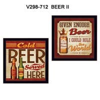 """Beer II Cold Beer Served Here"" Collection By Mollie B., Printed Wall Art, Ready To Hang Framed Poster, Black Frame"