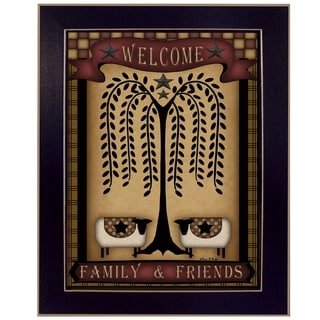 "''Welcome Family & Friends"" by Carrie Knoff Printed Framed Wall Art"