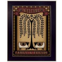"""""""Welcome Family and Friends"""" By Carrie Knoff, Printed Wall Art, Ready To Hang Framed Poster, Black Frame"""