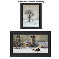 """""""Winter Harmony Vignette"""" Collection By Robin-Lee Vieira, Printed Wall Art, Ready To Hang Framed Poster, Black Frame"""