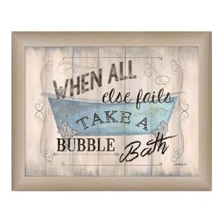 """Take a Bubble Bath"" By Debbie DeWitt, Printed Wall Art, Ready To Hang Framed Poster, Beige Frame