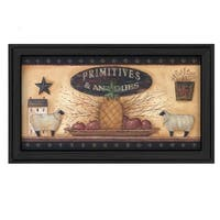 """""""Primitive and Antiques Shelves"""" By Pam Britton, Printed Wall Art, Ready To Hang Framed Poster, Black Frame"""