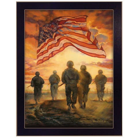 """""""Bless Americas' Heroes"""" By Bonnie Mohr, Ready to Hang Framed Wall Art, Black Frame"""