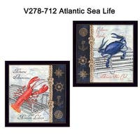 """""""Atlantic Sea Life"""" Collection By Debbie DeWitt, Printed Wall Art, Ready To Hang , Black Frame"""