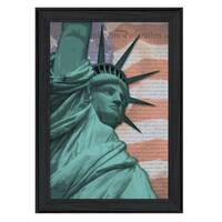 """""""Lady Liberty"""" By Lauren Rader, Printed Wall Art, Ready To Hang Framed Poster, Black Frame"""