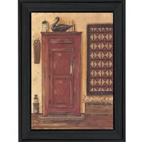 """Old Red Pie Safe"" By Pam Britton, Printed Wall Art, Ready To Hang Framed Poster, Black Frame"