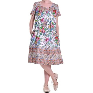 La Cera Women's Short Sleeve Printed Border Dress