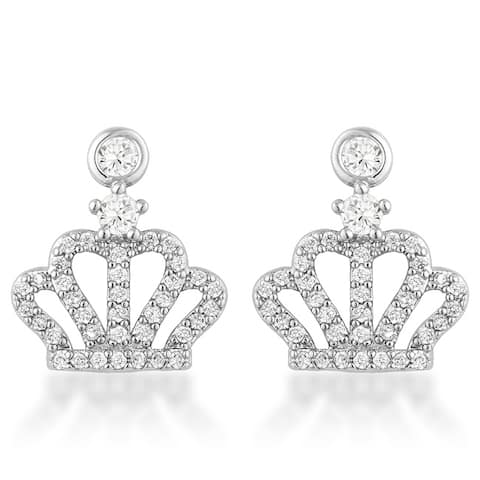 0.5 Ct Rhodium Crown CZ Earrings - CLEAR