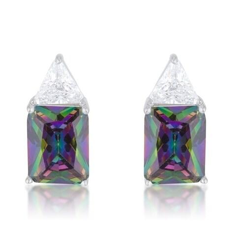 Classic Mystic Cubic Zirconia Rhodium Stud Earrings - clear mystic