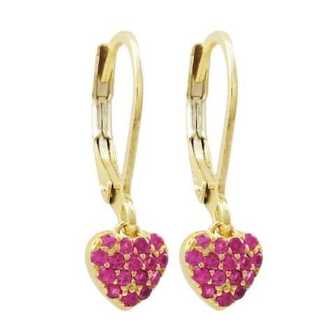 Luxiro Gold Finish Cubic Zirconia Children's Dangle Earrings