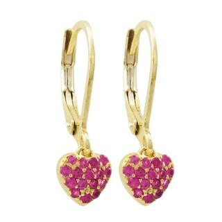 Luxiro Gold Finish Cubic Zirconia Children's Dangle Earrings (2 options available)