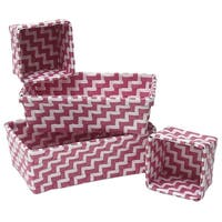 Evideco Checkered Woven Strap Shelf Baskets Zebra Set of 4