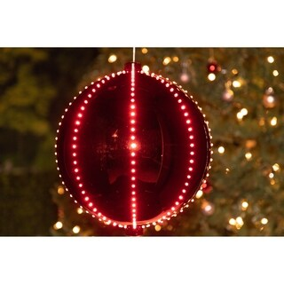 Alpine Corporation Red Plug-in Xmas Ball Ornament with 240 Chasing LED Lights