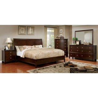 Furniture of America Kami Transitional 4-piece Brown Cherry Bedroom Set
