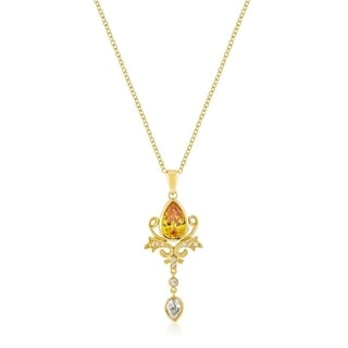 Golden Elegant Teardrop Crest Pendant - yellow