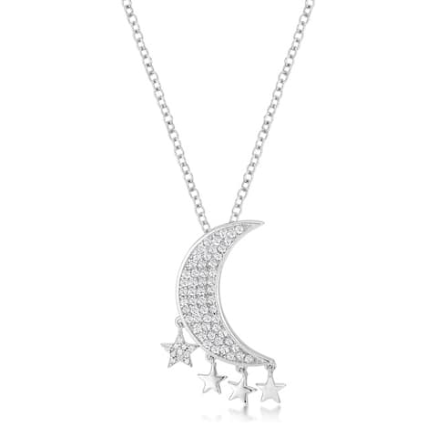 .6Ct Dazzling Rhodium Moon and Stars Necklace with CZ - Clear