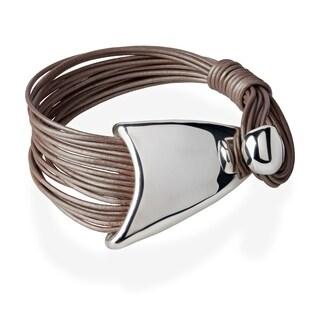 Handmade Electroform Silver Overlay Leather Cord Triangle Lasso Bracelet (Israel)