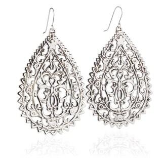 Handmade Electroform Silver Overlay Oriental XL Teardrop Earrings (Israel)