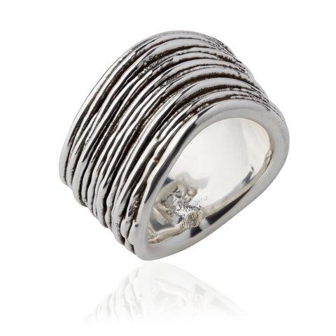 Handmade Electroform Silver OverlayThin Striped Ring (Israel)