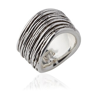 Handmade Electroform Silver OverlayThin Striped Ring (Israel)