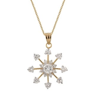 Golden Snowflake Drop Pendant - Clear