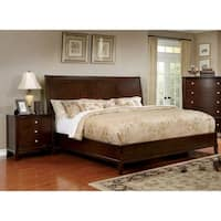 Furniture of America Kami Transitional 2-piece Brown Cherry Bed and Nightstand Set