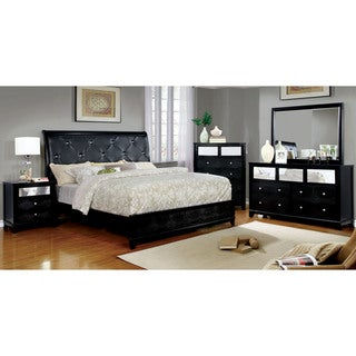 Furniture of America Lorrence Contemporary 4-piece Tufted Crocodile Skin Leatherette Bedroom Set
