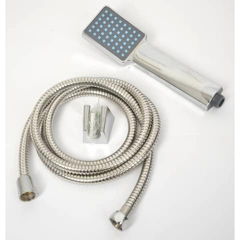 Set of Hand Held Shower Head and Stainless Steel Hose Chrome