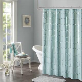 Intelligent Design Khloe Geometric Metallic Printed Shower Curtain 3 Color Option