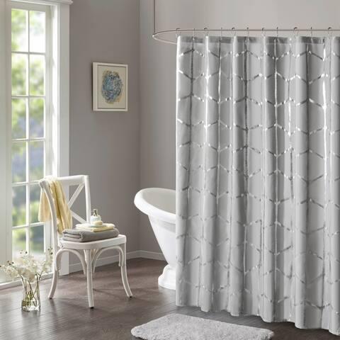 Intelligent Design Khloe Geometric Metallic Printed Shower Curtain 4-Color Option