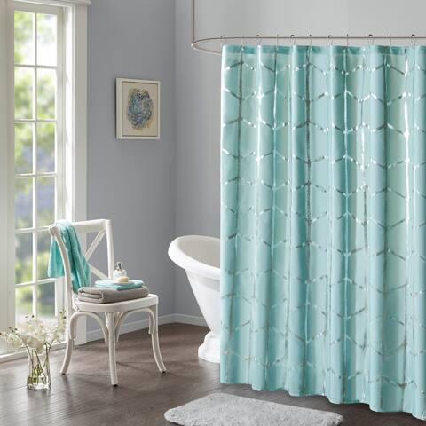 Intelligent Design Khloe Geometric Metallic Printed Shower Curtain