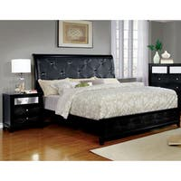 Furniture of America Lorrence Contemporary 2-piece Tufted Crocodile Skin Leatherette Bed with Nightstand Set