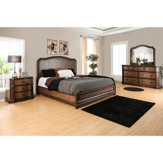 Furniture of America Palms Classic 4-piece Wooden Laser Cut Warm Chestnut Bedroom Set
