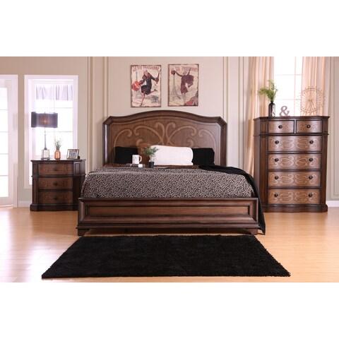 Furniture of America Palms Classic 3-piece Wooden Laser Cut Warm Chestnut Bedroom Set