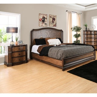 Furniture of America Palms Classic 2-piece Wooden Laser Cut Warm Chestnut Bed with Nightstand Set