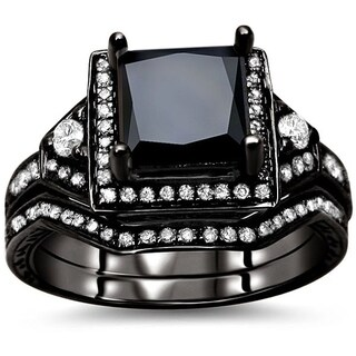 Noori 14k Black Gold 2ct TDW Black and White Diamond Bridal Set (5 options available)