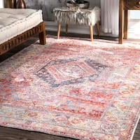"nuLOOM Traditional Vintage Inspired Diamond Border Red Rug (7'10 x 10'10) - 7'10"" x 10'10"""