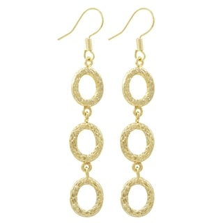 Luxiro Textured Gold Finish Dangle Earring