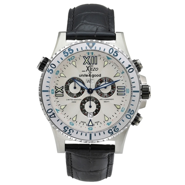 Shop xezo men 39 s air commando swiss quartz luxury sports chronograph watch d45 sl 2nd time zone for Xezo watches