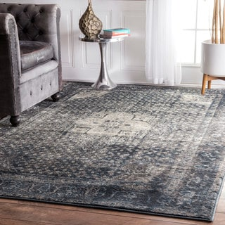 nuLOOM Traditional Vintage Fancy Medallion Blue Rug (12' x 15')