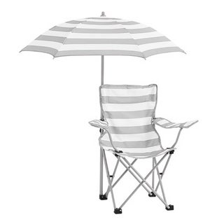Kids Rugby Stripe Beach Chair with Umbrella