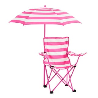 Kids Rugby Stripe Beach Chair with Umbrella (Option: Pink)