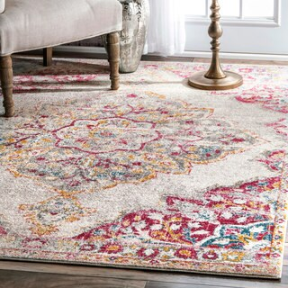 nuLOOM Transitional Medallion Centerpiece Pink Rug (5' x 7'5)