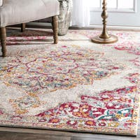 The Gray Barn Bowdon Transitional Medallion Centerpiece Pink Rug - 5' x 7'5