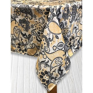 Paisley Park Off-white/Black/Gold Indoor/Outdoor Imported Tablecloth (Option: Black)
