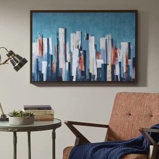 INK+IVY Metropolitan Center Blue Hand Embellished Framed Canvas With Cardboard Backer
