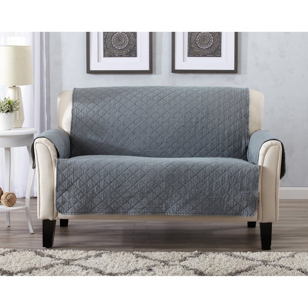 Home Fashion Designs Laurina Stonewashed Reversible Loveseat Protector