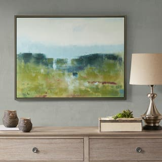 Madison Park Signature Morning Fields Green Blue Hand Embellished Framed Canvas With MDF Backer